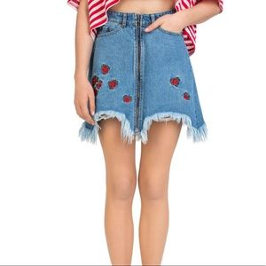 NWT The Kooples Denim Skirt with Rose Embroidery
